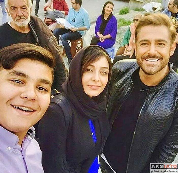 بازیگران زن ایرانی بازیگران مرد ایرانی  سلفی محمدرضا گلزار و ساره بیات در پشت صحنه عاشقانه