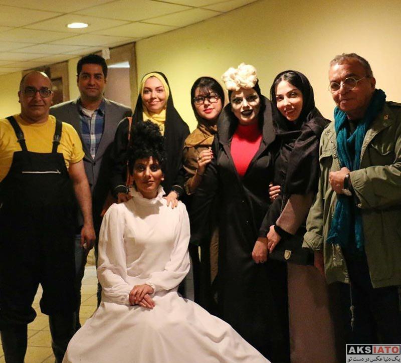 خانوادگی مجریان  آزاده نامداری و همسرش در پشت صحنه نمایش هملت