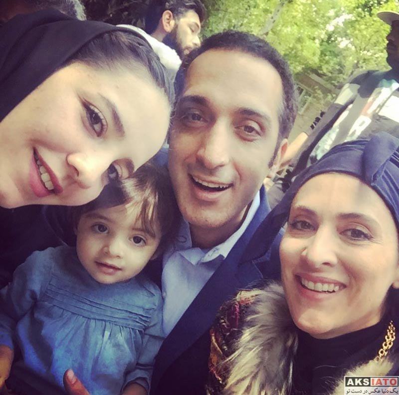 بازیگران بازیگران مرد ایرانی  امیرمهدی ژوله و دخترش در پشت صحنه دیوار به دیوار