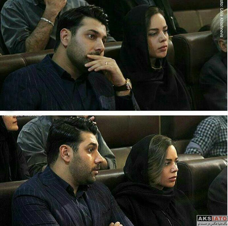 خوانندگان  احسان خواجه امیری و همسرش در مراسم چهلم