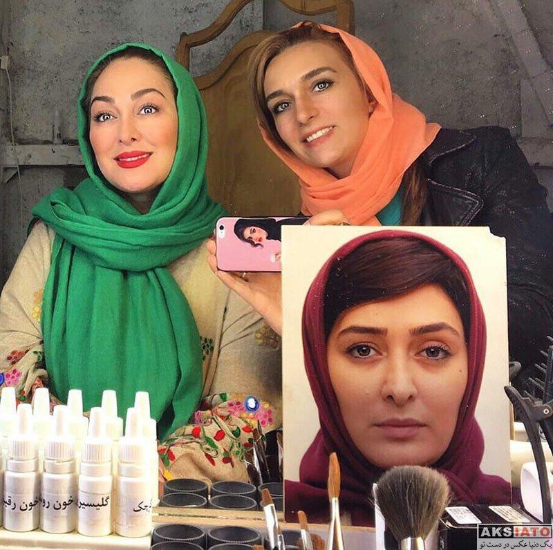 بازیگران بازیگران زن ایرانی  سلفی الهام حمیدی در اتاق گریم سریال سرزمین کهن