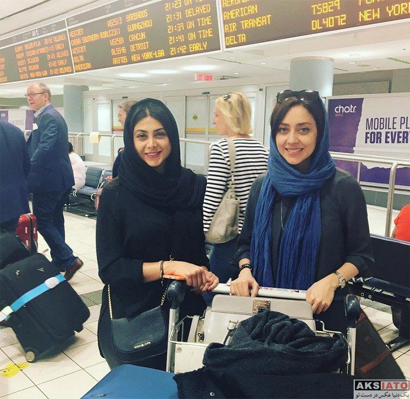 بازیگران بازیگران زن ایرانی  آزاده صمدی و بهاره کیان افشار در فرودگاه تورنتو