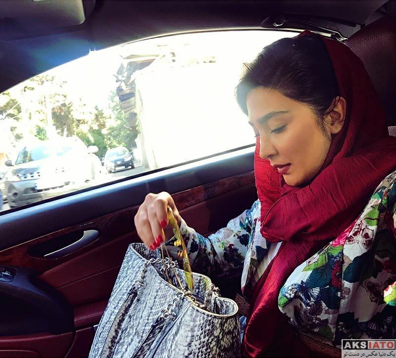 بازیگران بازیگران زن ایرانی  سلفی های مریم معصومی در داخل ماشین شخصی (3 عکس)