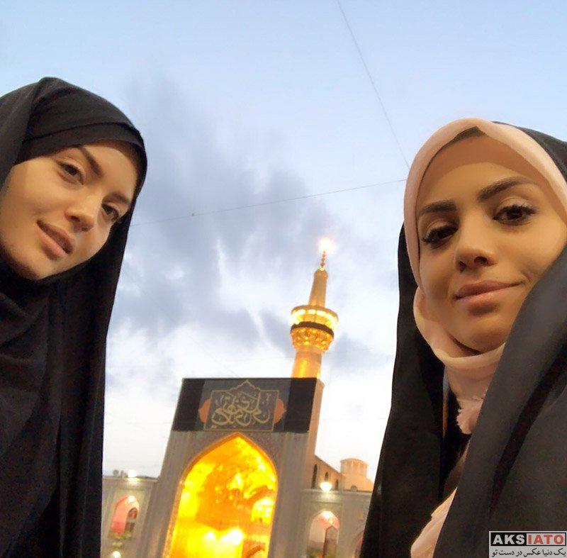 بازیگران مجریان  مبینا نصیری و خواهر در حرم امام رضا (ع) - (3 عکس)