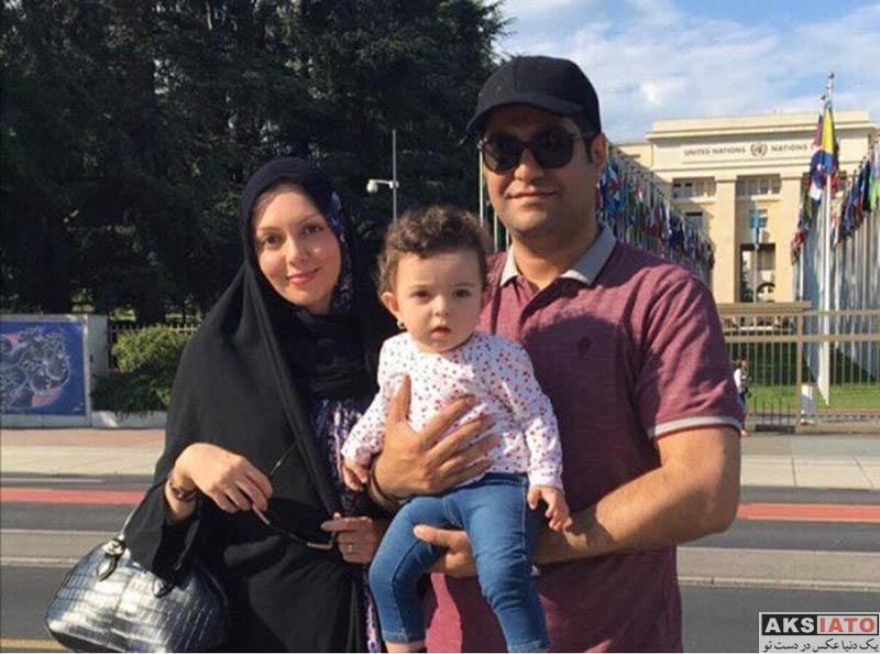 خانوادگی  آزاده نامداری همراه همسر و دخترش در سوئیس