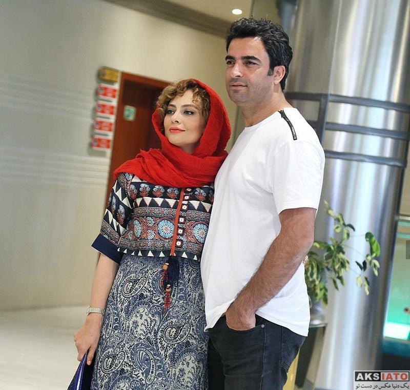 خانوادگی  یکتا ناصر و همسرش در مراسم رونمایی از پوستر فیلم آینه بغل