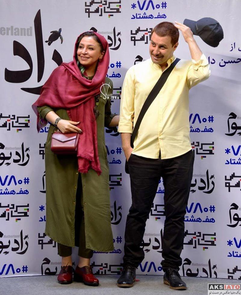خانوادگی  مه لقا باقری و همسرش در در اکران خصوصی فیلم «زادبوم»