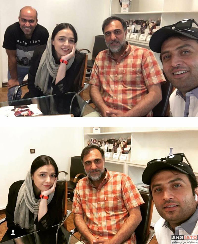 بازیگران بازیگران زن ایرانی  ترانه علیدوستی و مصطفی زمانی در دفتر کار سریال شهرزاد