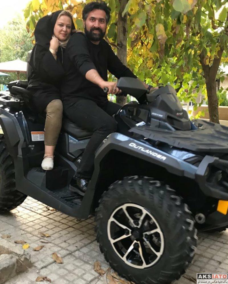 خانوادگی  موتورسواری بهاره رهنما و همسر جدیدش (2 عکس)