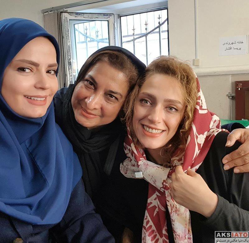 بازیگران بازیگران زن ایرانی سلفی های سپیده خداوردی و نگین معتضدی در اتاق گریم (3 عکس)