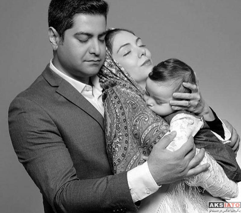 بازیگران عکس آتلیه و استودیو  عکس آتلیه آزاده نامداری در آغوش همسرش