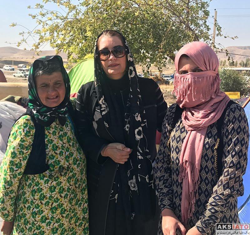 بازیگران بازیگران زن ایرانی  فریبا کوثری در مناطق زلزله کرمانشاه (3 عکس)
