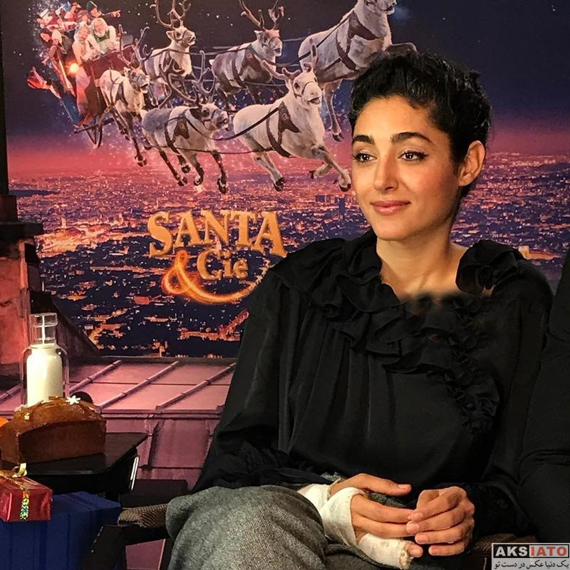بازیگران بازیگران زن ایرانی گلشیفته فراهانی در حال ضبط مصاحبه تبلیغاتی (2 عکس)