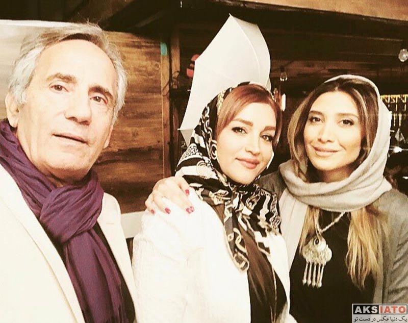 بازیگران بازیگران زن ایرانی  نیکی مظفری و پدرش در تولد ۴۰ سالگی پرستو صالحی (4 عکس)
