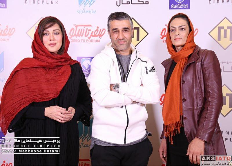 بازیگران بازیگران زن ایرانی  مهتاب کرامتی و پژمان جمشیدی در اکران مستند صفر تا سکو