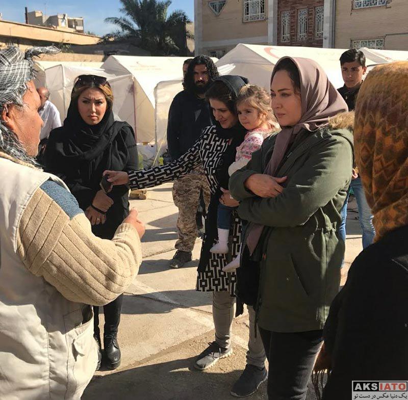 بازیگران بازیگران زن ایرانی  نیکی کریمی در مناطث زلزله زده کرمانشاه (3 عکس)