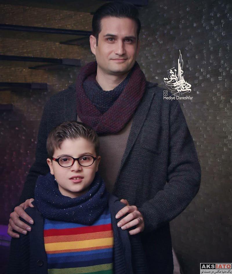 خانوادگی  پویا امینی و پسرش در اکران خصوصی فیلم آینه بغل (2 عکس)