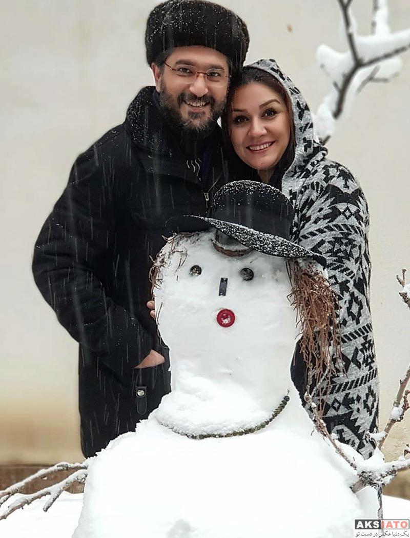 خانوادگی  امیرحسین مدرس و همسرش در روز برفی تهران در بهمن ۹۶ (۲ عکس)