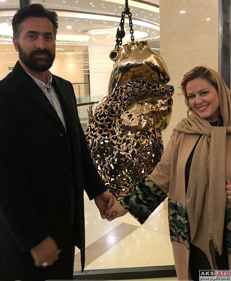 خانوادگی  بهاره رهنما و همسرش در نمایشگاه حراج تهران (3 عکس)