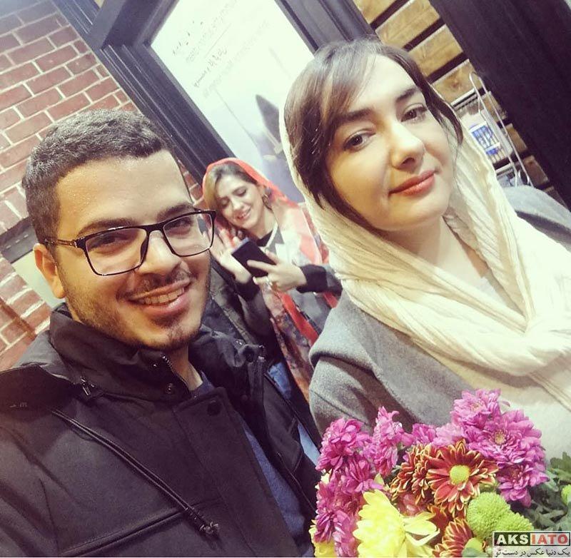 بازیگران بازیگران زن ایرانی  هانیه توسلی و هوادارش در پشت صحنه نمایش جدیدش (2 عکس)