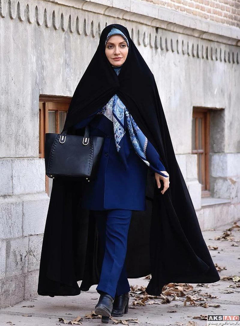 بازیگران بازیگران زن ایرانی  مهناز افشار با تیپ چادری در سریال گلشیفته (2 عکس)