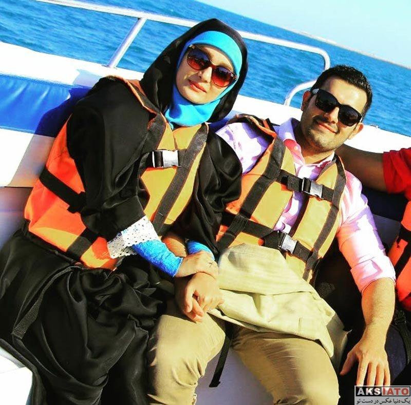 بازیگران مجریان  مژده خنجری به همراه همسرش در جزیره کیش (4 عکس)