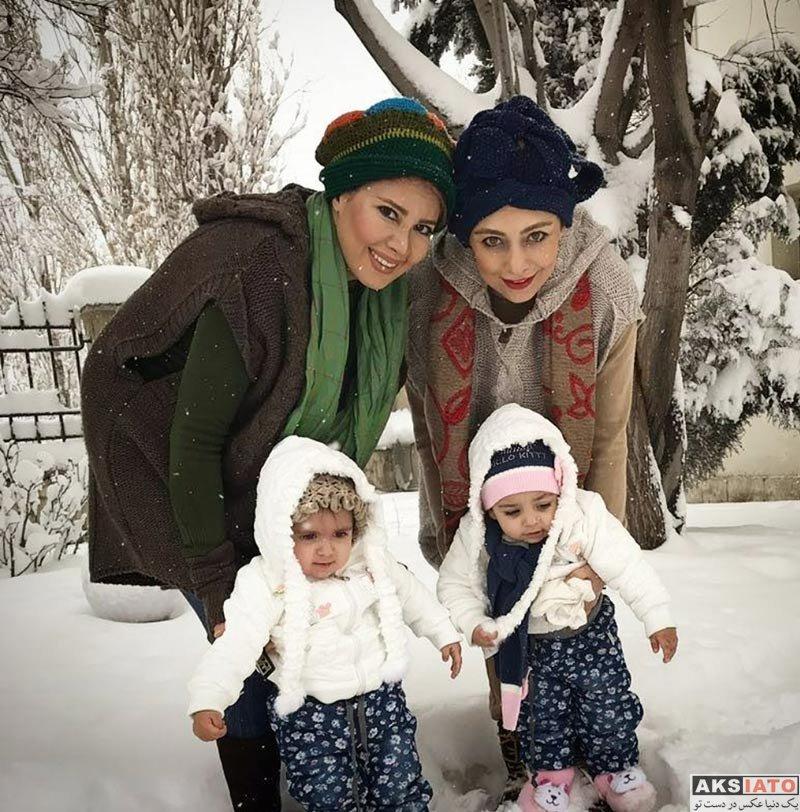 بازیگران بازیگران زن ایرانی  یکتا ناصر و همسر و خواهرش در روز برفی تهران (4 عکس)