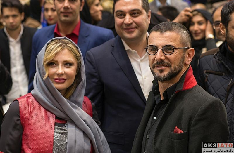 بازیگران بازیگران زن ایرانی  نیوشا ضیغمی و همسرش در افتتاح گالری نقره آرش (4 عکس)