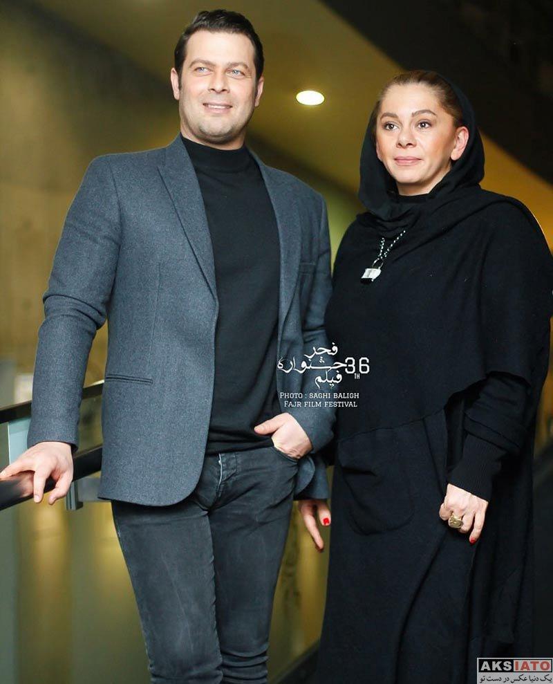 بازیگران جشنواره فیلم فجر  پژمان بازغی و همسرش در روز هفتم جشنواره فیلم فجر ۳۶ (5 عکس)
