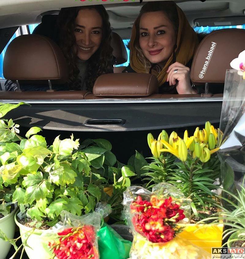 بازیگران بازیگران زن ایرانی  بهاره افشاری و دوستش در یک گل فروشی (4 عکس)