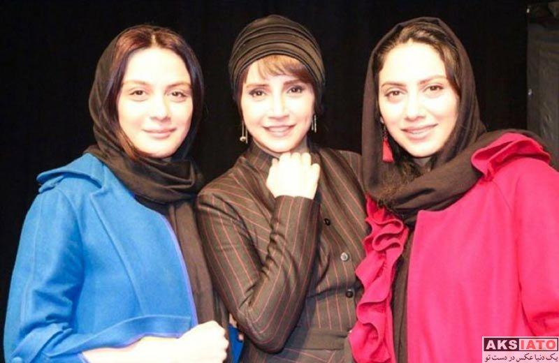 بازیگران بازیگران زن ایرانی  مونا فرجاد و خواهرش در اجرای نمایش چشم ها (2 عکس)
