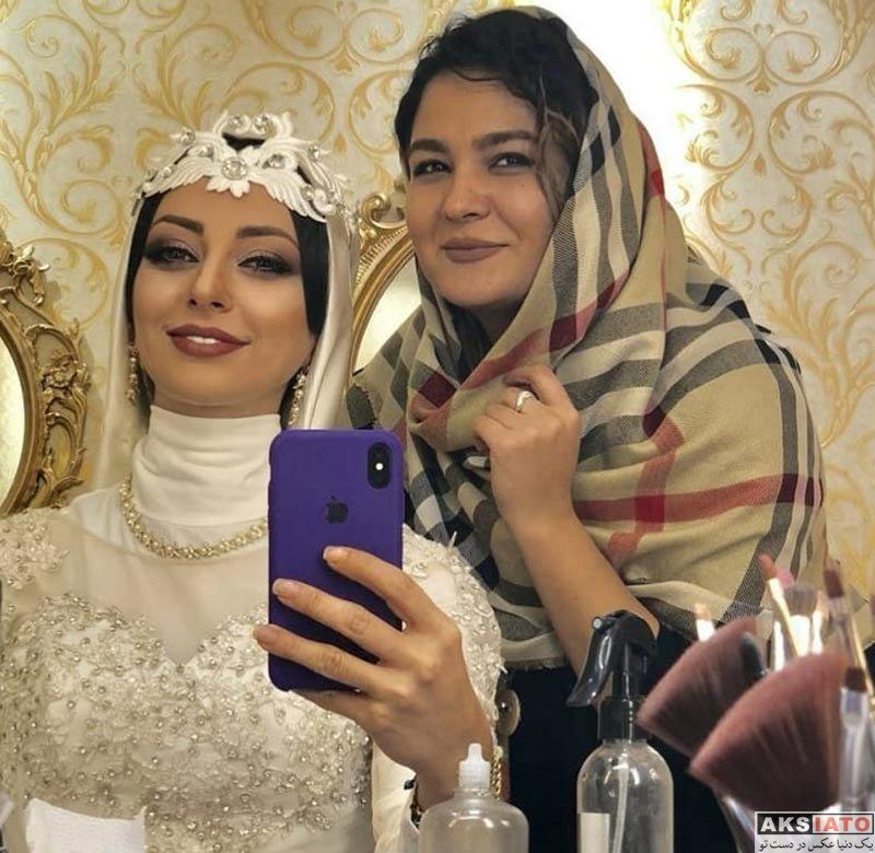 بازیگران بازیگران زن ایرانی  تست گریم نفیسه روشن با لباس عروس (3 عکس)