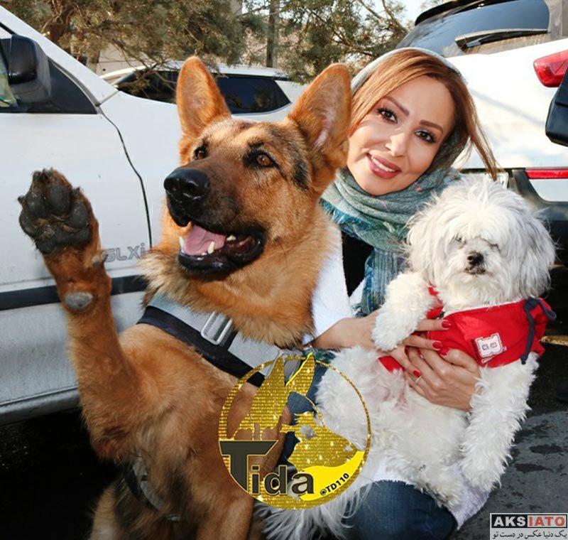 بازیگران بازیگران زن ایرانی  پرستو صالحی به همراه سگ معروف (3 عکس)