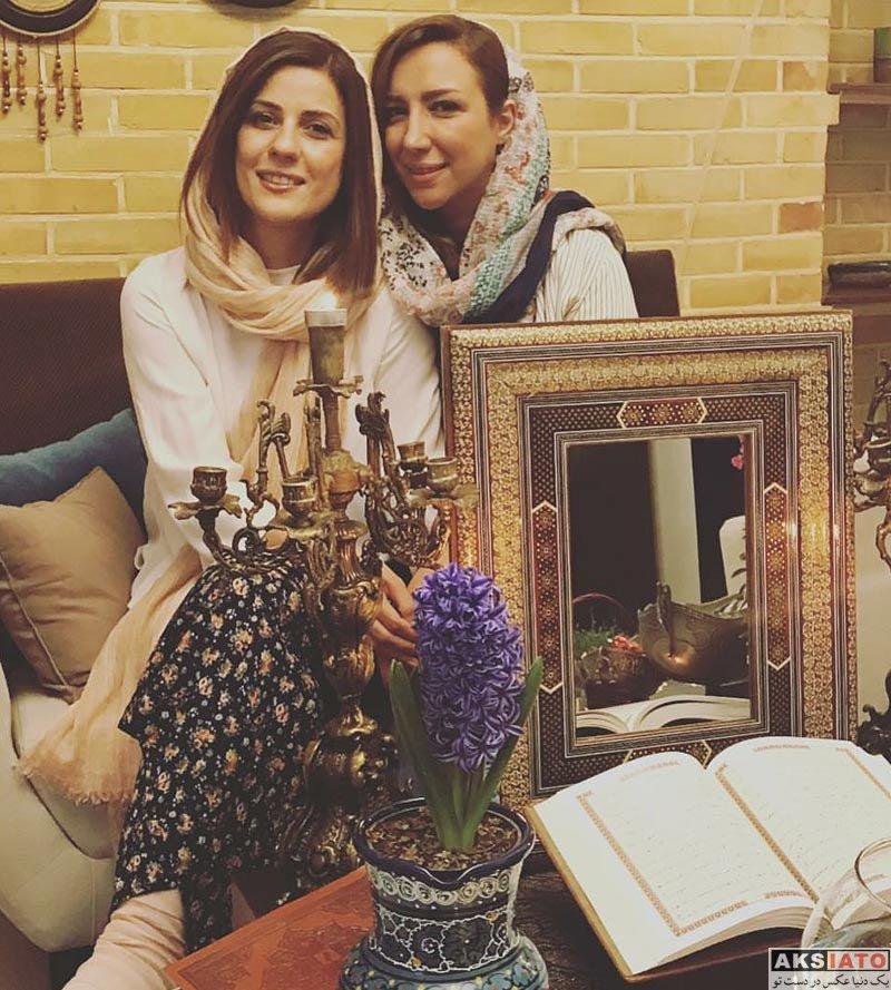 بازیگران بازیگران زن ایرانی  عکس سارا بهرامی در کنار خواهرش ویژه عید نوروز 97