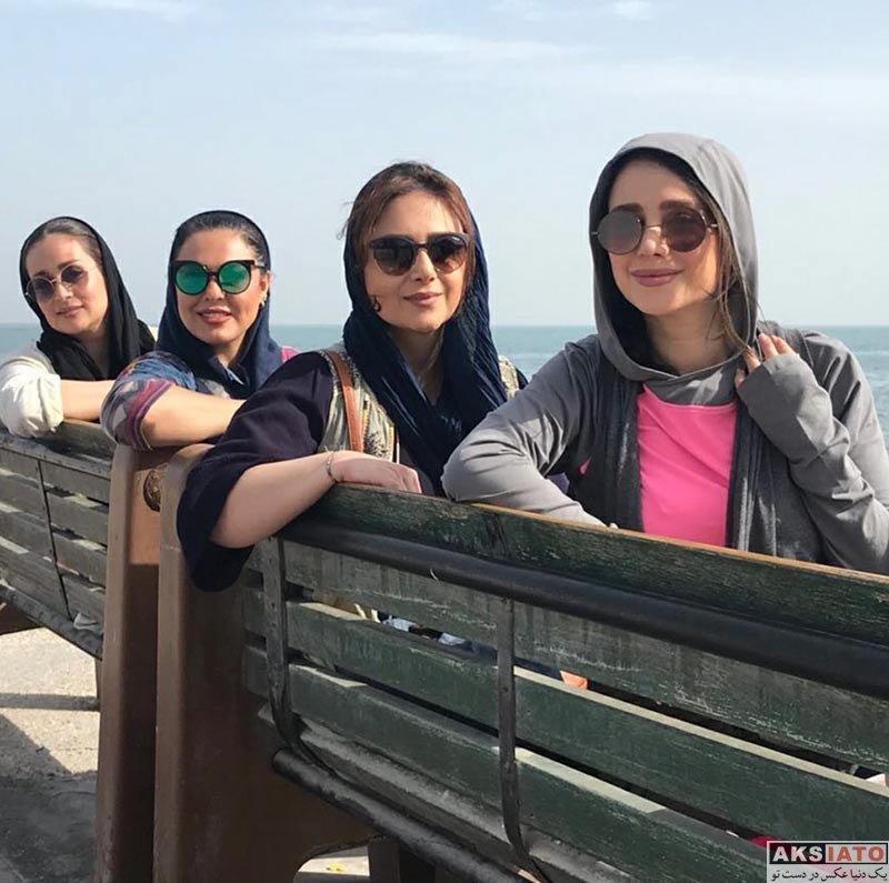 بازیگران بازیگران زن ایرانی  الناز حبیبی به همراه دوستانش در جزیره کیش (4 عس)