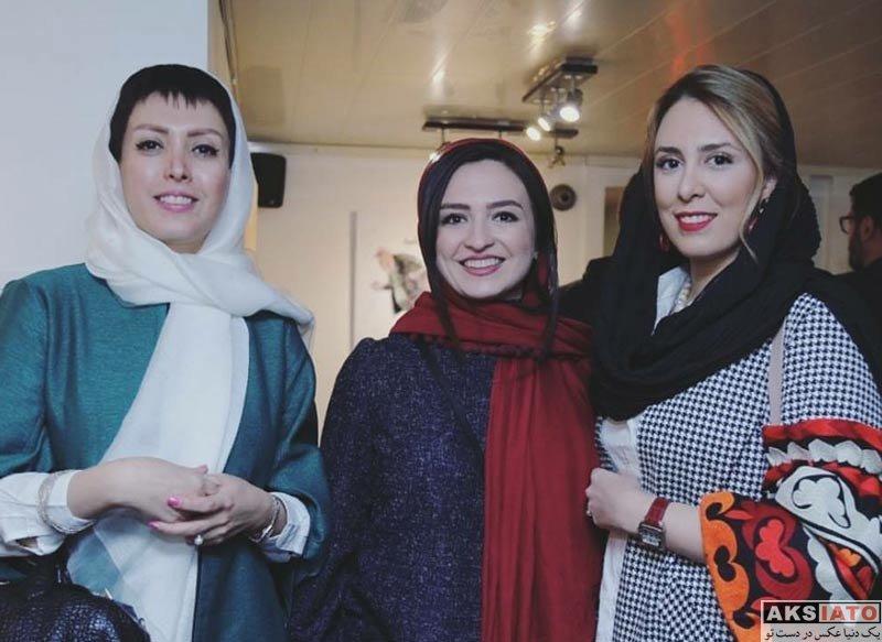 بازیگران بازیگران زن ایرانی  گلاره عباسی و همسرش در نمایشگاه بزرگمهر حسین پور (3 عکس)