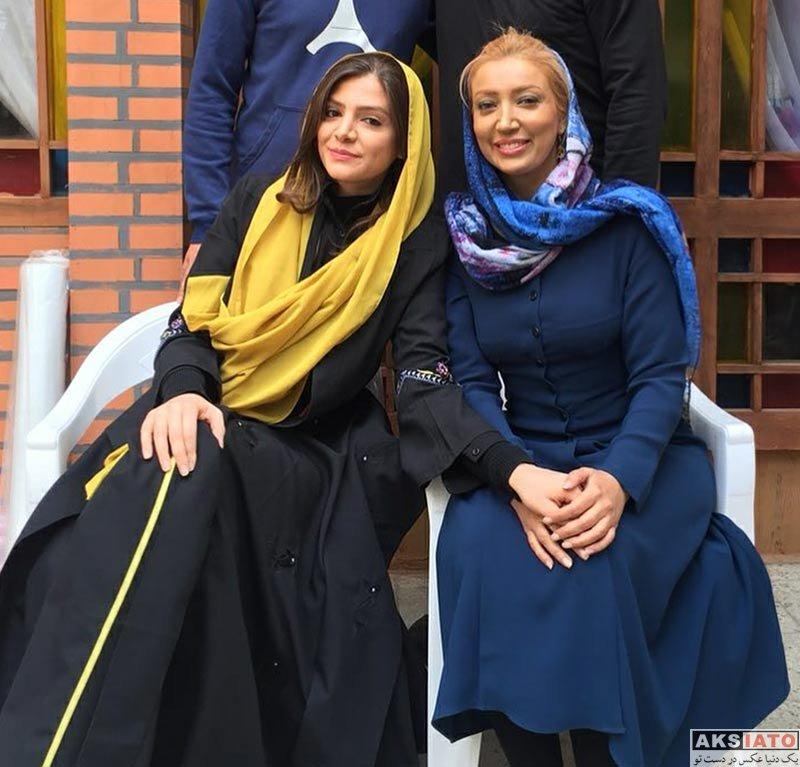 بازیگران بازیگران زن ایرانی  نگار عابدی در پشت صحنه سریال هست و نیست (3 عکس)