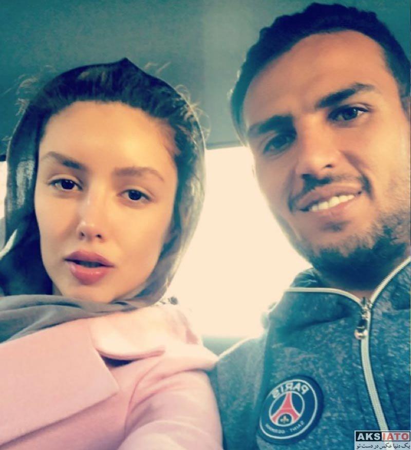 ورزشکاران مرد  سلفی یعقوب کریمی با همسرش نیکی محرابی در ماشین (2 عکس)