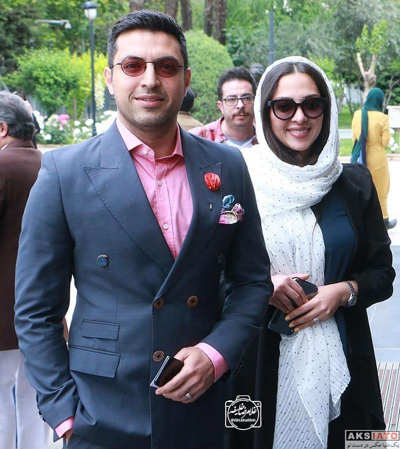 بازیگران بازیگران مرد ایرانی خانوادگی  اشکان خطیبی و همسرش در پانزدهمین جشن بازیگر خانه تئاتر (2 عکس)