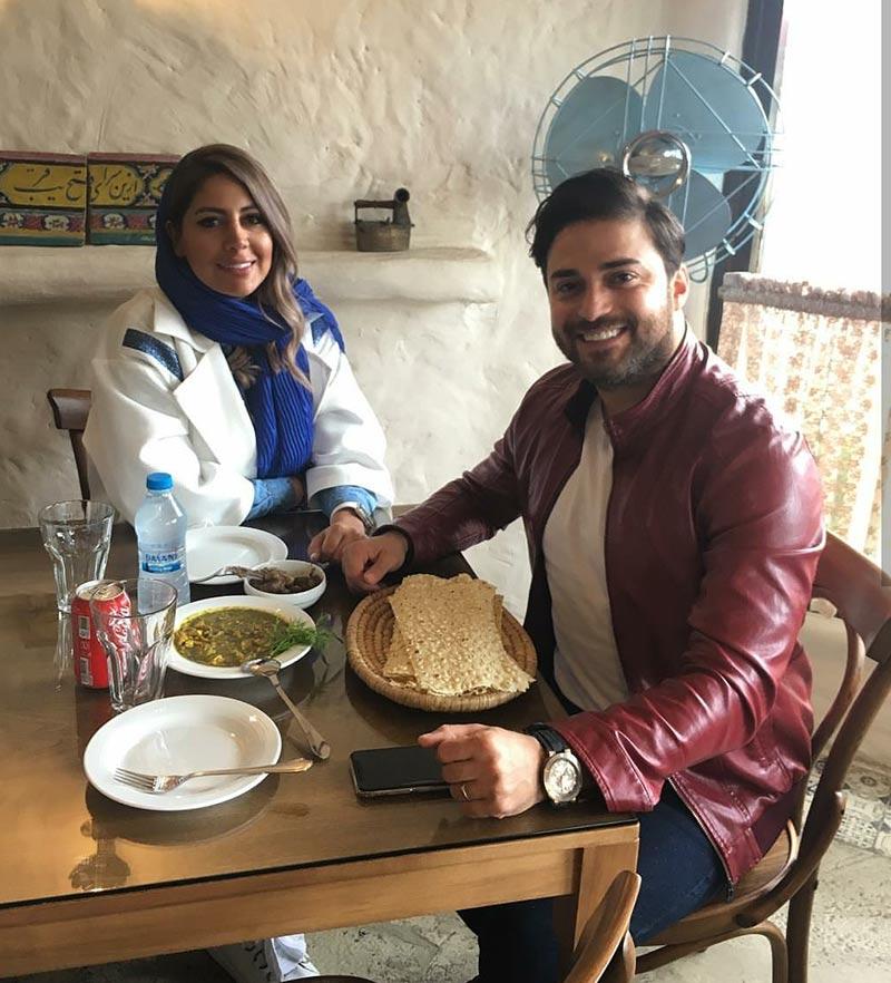 خانوادگی خوانندگان  بابک جهانبخش و همسرش در رستوران شمالی (2 عکس)