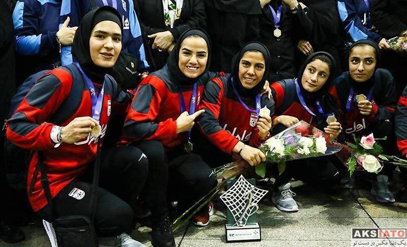 ورزشکاران ورزشکاران زن  فرشته کریمی در مراسم بازگشت تیم ملی فوتسال بانوان (4 عکس)