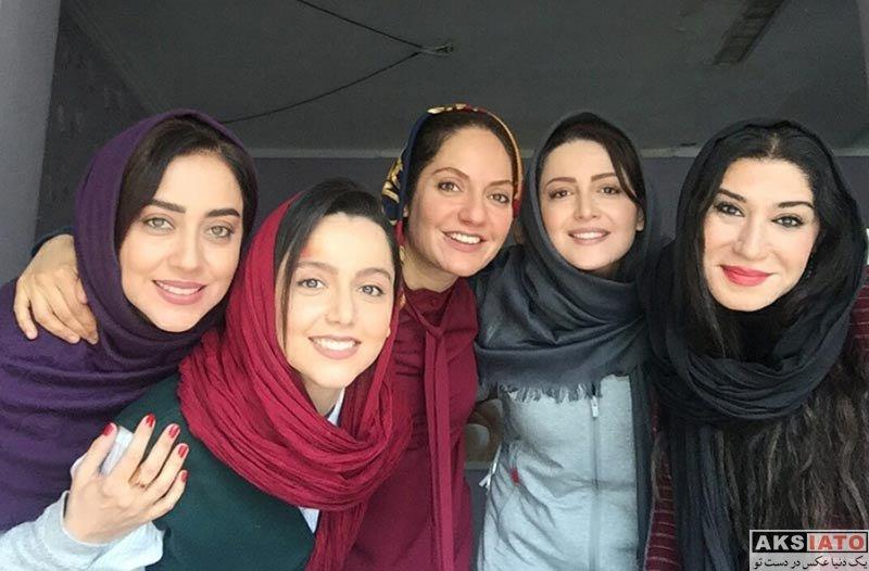 بازیگران بازیگران زن ایرانی  نازنین بیاتی و دیگر بازیگران در پشت صحنه سریال گلشیفته (3 عکس)
