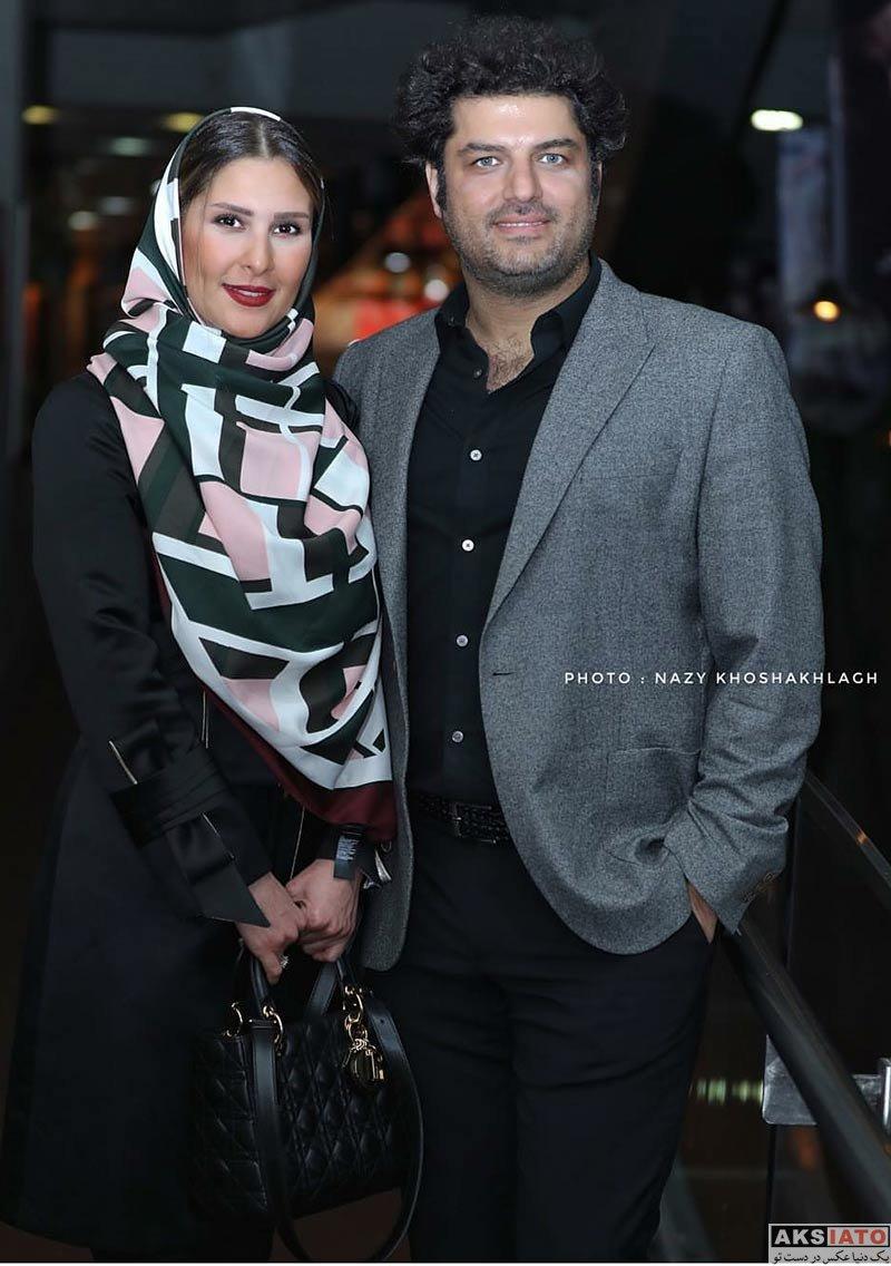بازیگران مرد ایرانی خانوادگی  سام درخشانی و همسرش در اکران خصوصی فیلم خجالت نکش (۵ عکس)