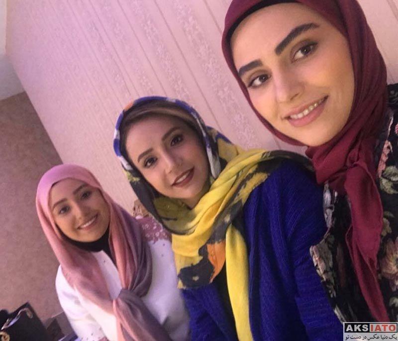 بازیگران بازیگران زن ایرانی  شبنم قلی خانی و لاله مرزبان در پشت صحنه سریال آنام (4 عکس)