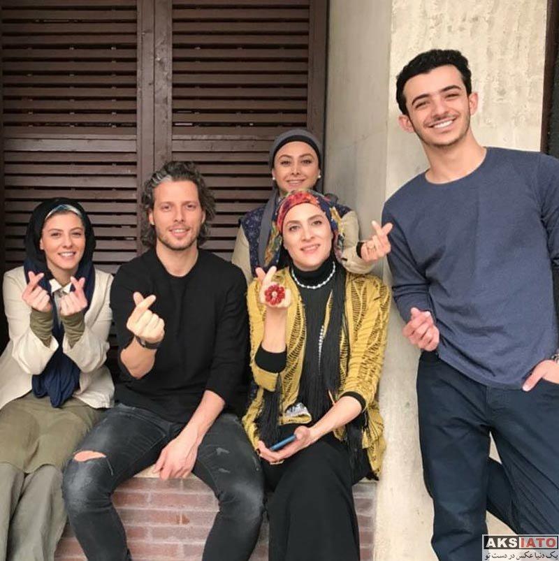 بازیگران بازیگران زن ایرانی  ویشکا آسایش در پشت صحنه سریال دیوار به دیوار (3 عکس)
