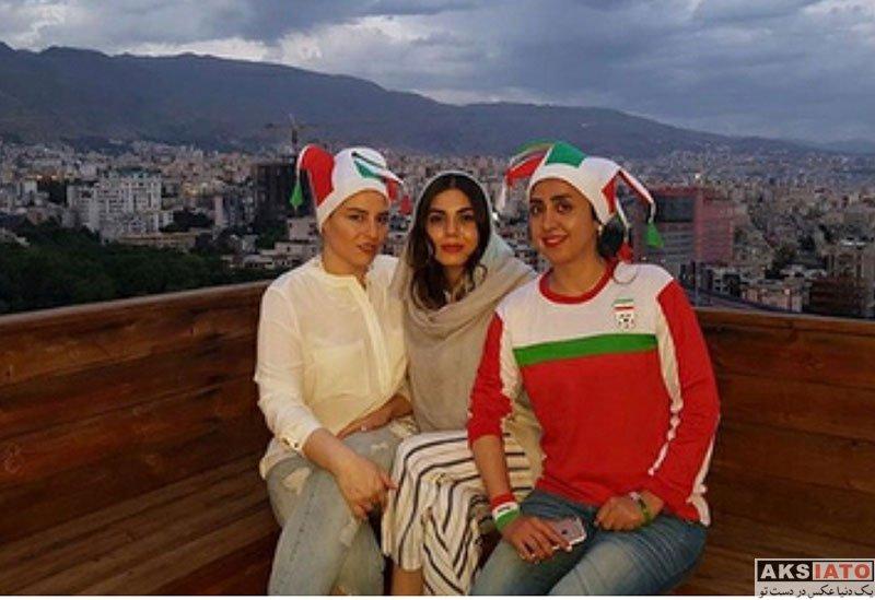 بازیگران بازیگران زن ایرانی  آزاده زارعی در شب بازی تیم ملی با پرتغال (3 عکس)