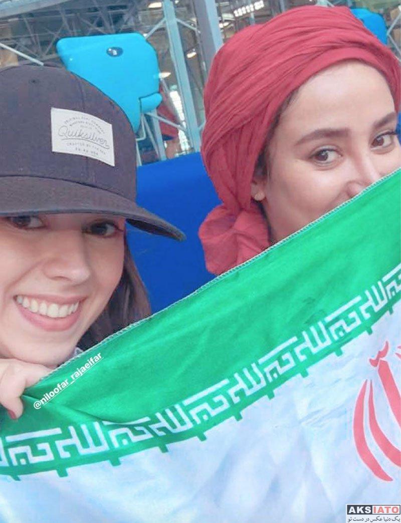 بازیگران بازیگران زن ایرانی  بهاره افشاری در ورزشگاه بازی ایران و مراکش (2 عکس)
