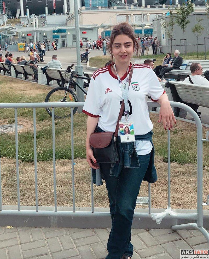 بازیگران بازیگران زن ایرانی  حنا فردین در ورزشگاه بازی ایران و مراکش (3 عکس)