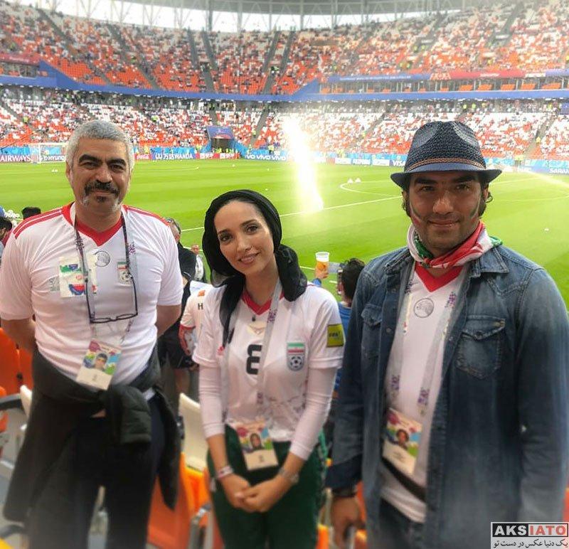 بازیگران بازیگران زن ایرانی  خاطره اسدی در ورزشگاه بازی تیم ایران و پرتغال (2 عکس)