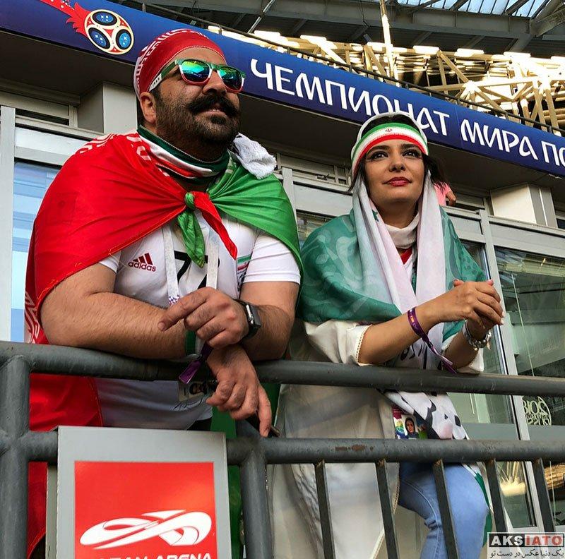 بازیگران بازیگران زن ایرانی  لیندا کیانی در ورزشگاه بازی ایران و اسپانیا (5 عکس)
